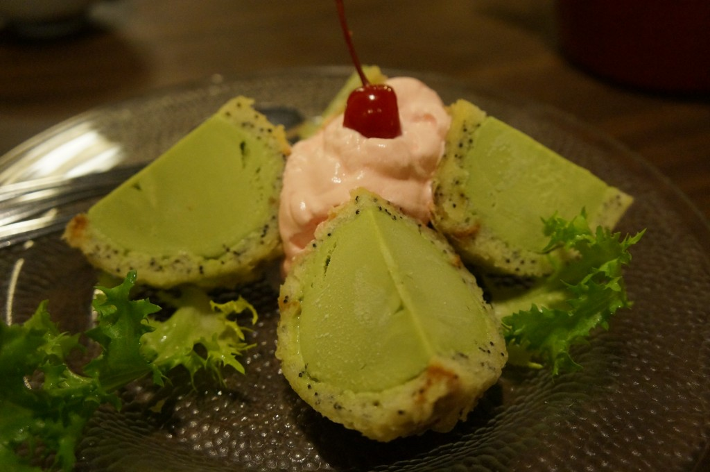 Maneki - fried poppy cake green tea ice cream
