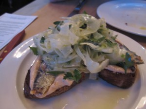 whale wins - sardines on crostinni